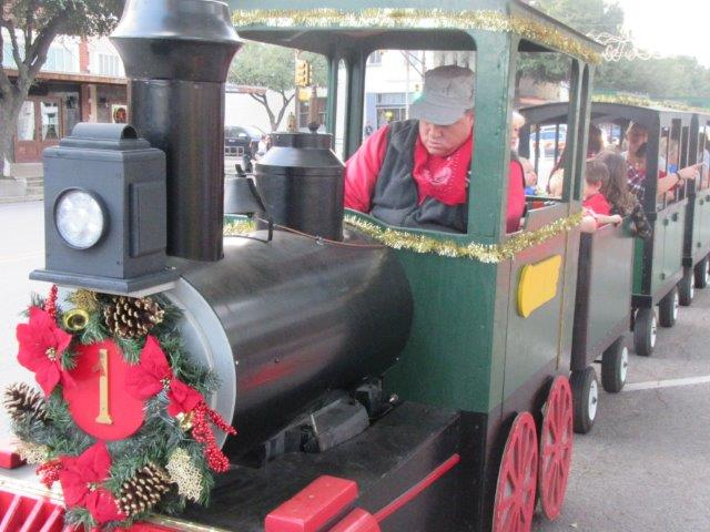 Close up of holiday street train