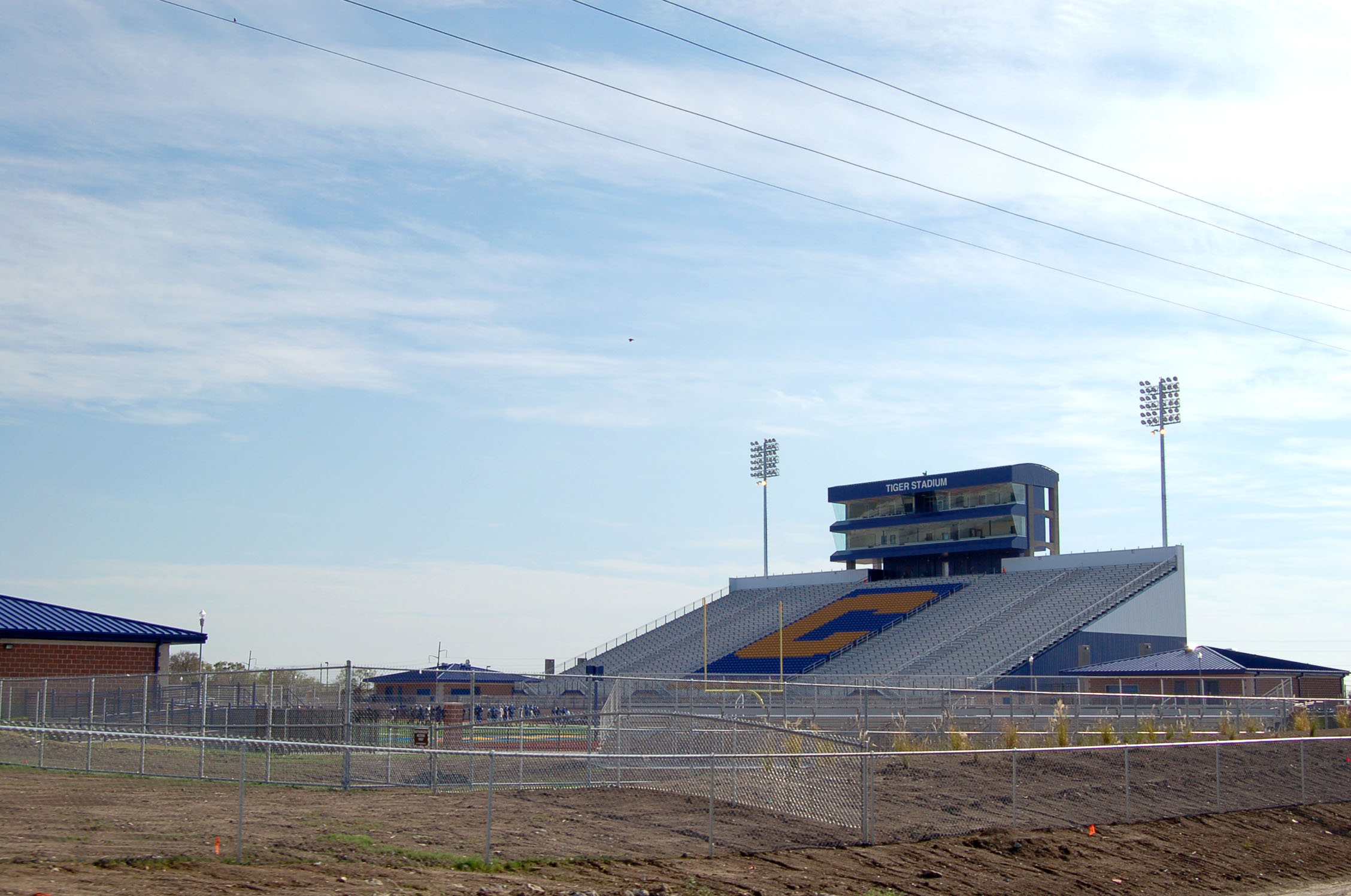 Bleachers and Press Box at Tiger Field in Corsicana, TX