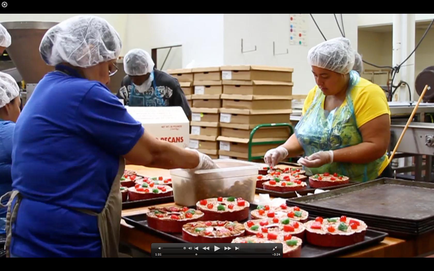 Workers on the Fruitcake Line at Collin Street Bakery